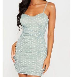 Polkadot ruched mini dress